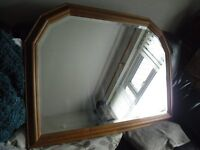 LARGE PINE FRAMED WALL MIRROR 104 X 73 X 3 CM.