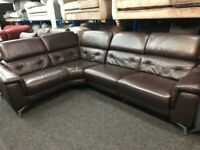 NEW - EX DISPLAY BROWN LEATHER LAZYBOY MONUMENT ELECTRIC INCLINER CORNER GROUP SOFA 70%Off RRP