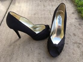 Black satin knot detail size 6 shoes