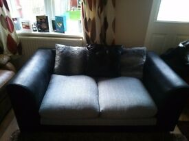 Faux leather black and grey 2 seater settee