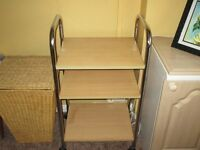 KITCHEN TROLLEY, AS NEW. 3 PINE SHELVES, CHROME FRAME. ON WHEELS