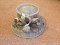 Beige Fibre Ladies Hat (with feather/decorative trim)
