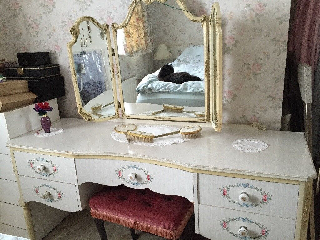 Gorgeous white/grey/floral vintage dressing table, bed head with attached side tables.