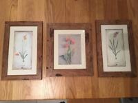 Three Wooden Frame Set. Very homely and Rustic feel. Never used and hung up!