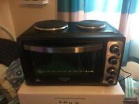 28L Electric Oven With 2 Rings Grill & Rotisserie Black NEW