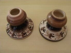 2 brown Jersey Pottery Candle sticks