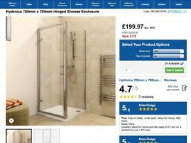 Shower Enclosure 760mm X 760mm Brand New.