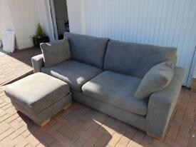 "Next ""Sonoma II"" Grey 4 seater couch and storage footstool"