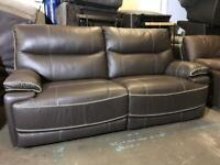 NEW HARVEYS WASHINGTON 3 SEATER SOFA BROWN LEATHER CONTRAST ELECTRIC POWER RECLINER