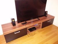 2 Metre Black & Walnut Sydney 2 Door TV Cabinet Extra Large Unit
