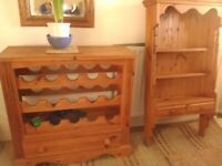 Pine wine rack with drawer. Pine wall display unit