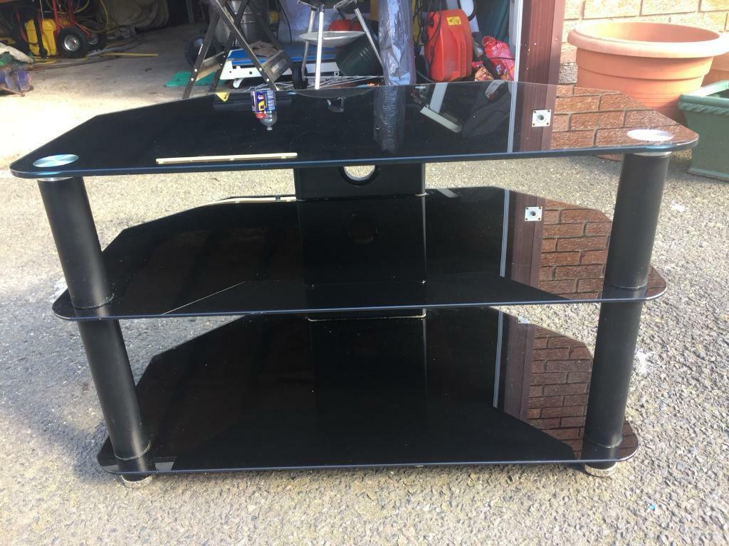 Black Glass Tv Stand In Larkhall South Lanarkshire Gumtree # Table Tv En Coin