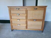 Vintage Rattan Wicker Chest of Drawers, 6 drawer - Brand: Pier
