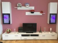 Moder TV Center Living Room Whit High Gloss Furniture Set Display Wall units with blue LED Lights!
