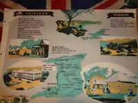 Vintage 1950's Educational Wall Poster Empire Information Project - Trinidad & Tobago