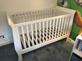 **Mamas & Papas Mia Sleigh Convertible Baby Cot Bed - Ivory**