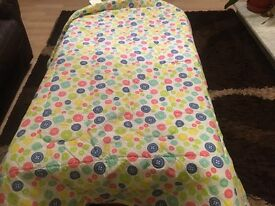 Cot bedding quilt and bumber and cot tidy