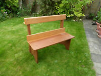 Two seater solid Mahogany hand made seat One Metre long for inside or outside use