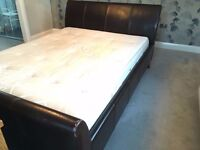 King size Leather sleigh Bed