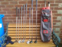 Set of ladies golf clubs with golf bag.