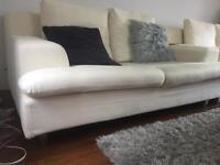 Modern white 2 seater sofa, set