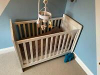 Cot with mattress, bedding & mobile