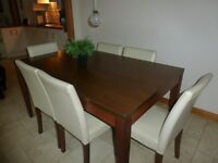 Walnut colour wooden table and 6 chairs £70