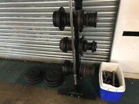 180kg various weight plates, Barbells, Dumbbell bars, Tree holder