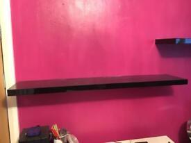 2x black floating shelves