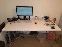 IKEA's Galant white office table, grey telescopic legs (160x80cm)