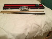 Brand new snooker cue with repair/maintenance kit and hard case carrier