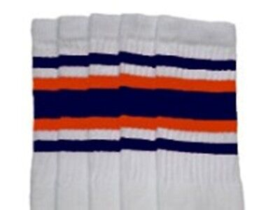 "22"" KNEE HIGH WHITE tube socks with NAVY BLUE/ORANGE stripes style 4 (22-130)  - Orange Knee Socks"