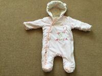 Winter Warm, 0-3 month baby pram suit - £10