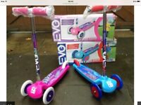 Evo three wheel scooter boys or girls age 3+ new boxed £10 each