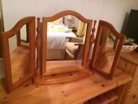 Pine Triple Swivel Mirror