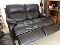 SOFOLOGY brown leather 2 seater electric recliner and 3 seater static sofa with footstool