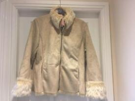 Faux fur lined shearling coat