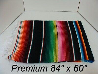84 x 60 Black Multi Color Large Sarape Mexican Saltillo Serape Throw Blanket