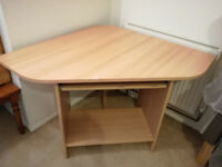 Corner computer desk, light oak effect, used