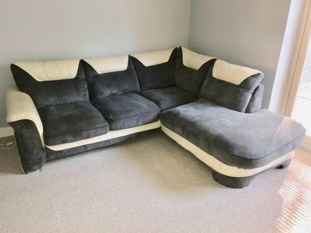 LIKE BRAND NEW** Grey Fabric and Cream Leather Corner Sofa for ...