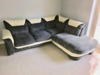 Like Brand New Grey Fabric And Cream Leather Corner Sofa For