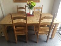 6ft mexican pine dining table + 4 chairs