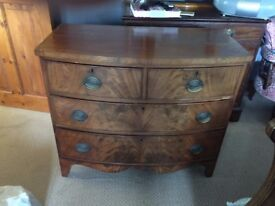 MAHOGANY VENEERED BOW FRONT CHEST OF DRAWERS