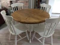 Extending Solid wood table and 4 chairs