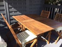 Mahogany gate leg garden table and 4 folding chairs