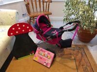 Selection of girls toys (3 to 6 years) pram etc...