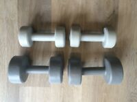 hand weights 2 x 3kg and 2 x 1.5kg