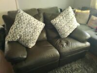 2 seater & armchair (brown) both recliner