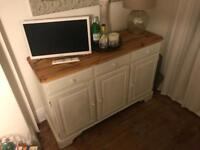 White shabby chic sideboard - Glass top section part of set but this is unpainted.