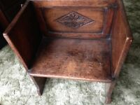 UNUSUAL OLD SINGLE WOODEN CHAIR / PEW